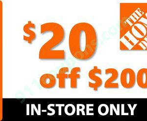 Home Depot $20 off $200 Coupon Promo Code – IN-STORE ONLY – MUST USE SAME DAY