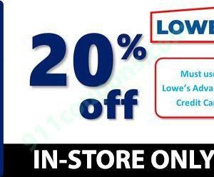 Lowes 20% Off Printable Coupon Promo – IN-STORE ONLY – Must Use Same Day – INSTANT DELIVERY