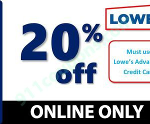 Lowes 20% Off Coupon Promo – ONLINE ONLY – Must Use Same Day – INSTANT DELIVERY